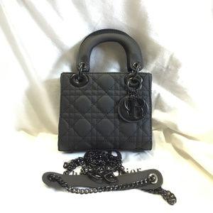 Brand New Matte Calfskin Cannage Mini Lady Black